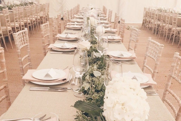 dressed trestle tables