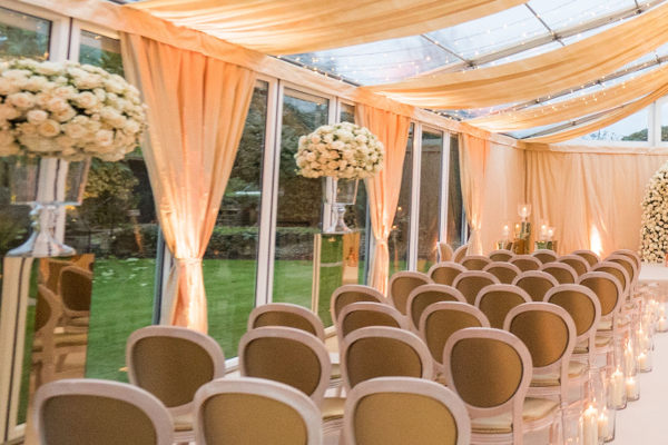 clear roof marquee with pleated lining