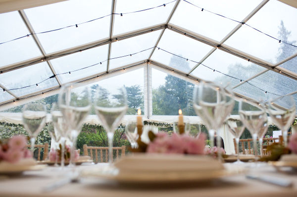 festoon of lights in clear roof marquee