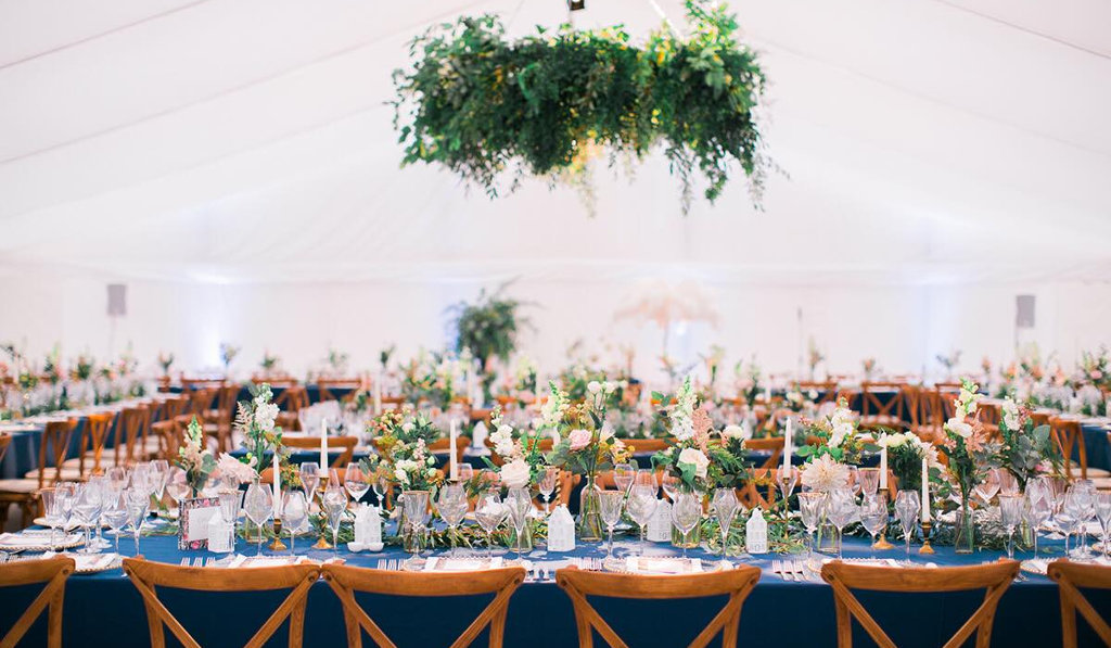 vintage styled wedding in marquee